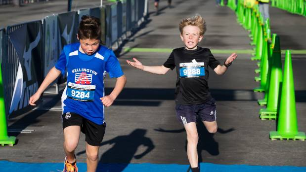 Even in the kids' magic mile tensions were high at the finish line. First place Jaguun Gunregjav-Willers and second ...