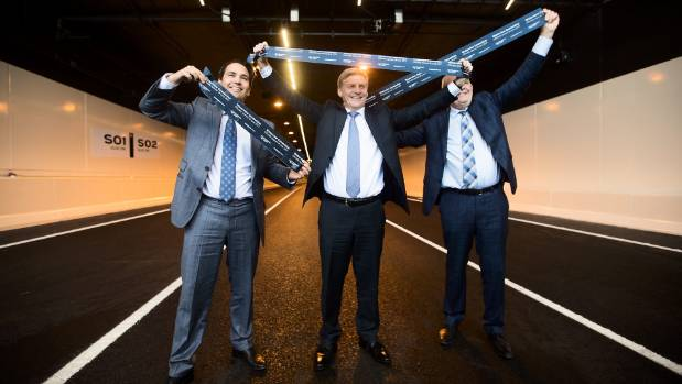 From left; Transport Minister Simon Bridges, Prime Minister Bill English and Finance Minister Steven Joyce officially ...