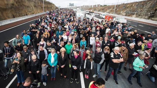 The Waterview tunnel was officially opened and the public allowed to walk through on Sunday.