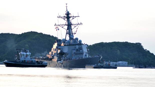 The USS Fitzgerald returns to Yokosuka following a collision with a merchant vessel.