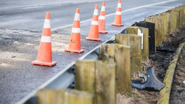 Debris left on the road after the quadruple fatal crash near Paeroa on Saturday evening.