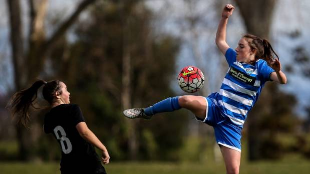 Tasman United's Ruby Smith attempts to gather the ball in the air during the team's 4-1 win over Waimak United.