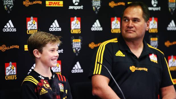 Sam Webb, 10, with Chiefs coach Dave Rennie, together announce the Chiefs team to play the Lions at a media conference ...