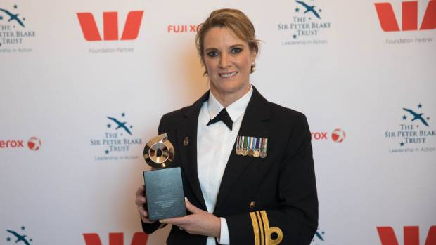 CAPTION: Lieutenant Commander Kerry Tutty wins the Sir Peter Blake Leadership award.