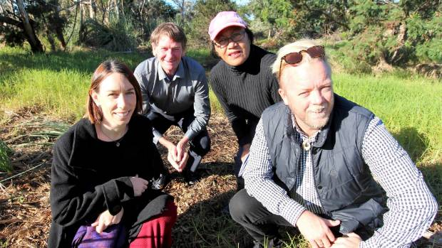 Bream Bay College teachers Emma Scobie-Jennings and Tony Baker, front, with Cr Rick Stolwerk and local landowner Luana ...