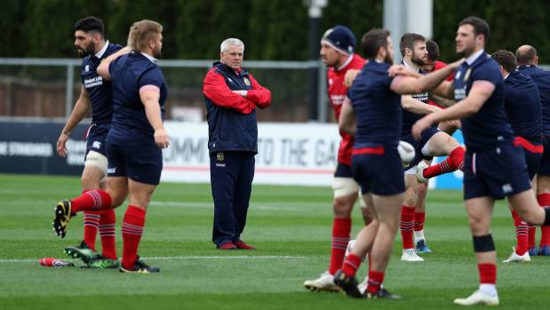 Coach Warren Gatland was back in Hamilton for Lions training on Sunday ahead of their match against the Chiefs.