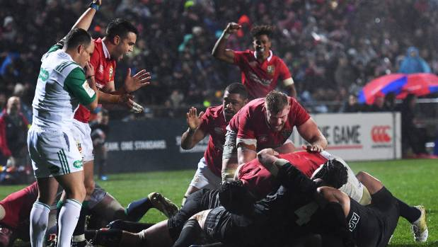 A try to lock Maro Itoje and the Lions have control over NZ Maori in Rotorua on Saturday.