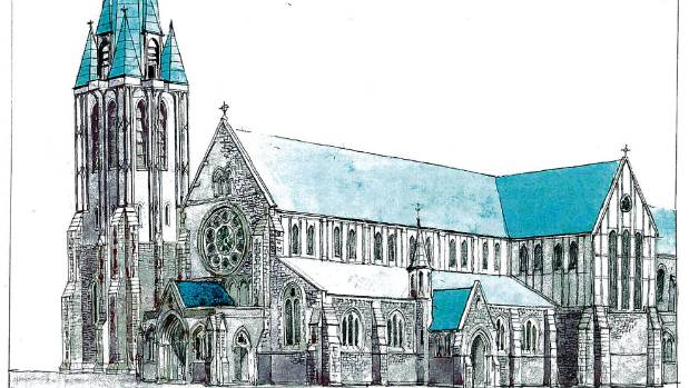 An artist's impressions by Sir Miles Warren showing a restoration of the earthquake damaged Christ Church Cathedral. The ...