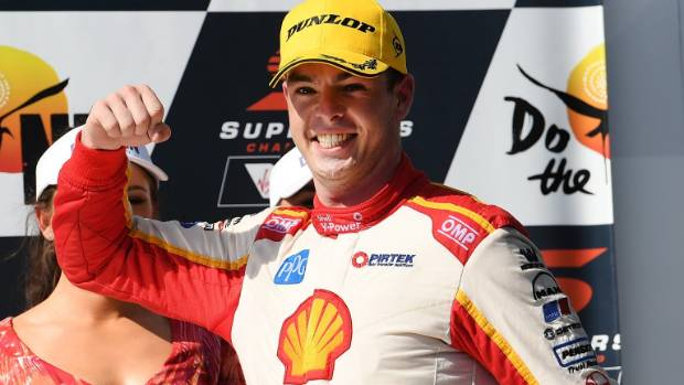 Scott McLaughlin celebrates after winning race 12 for the Darwin Triple Crown in the Supercars Championship at Hidden ...