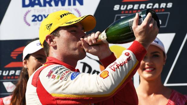 The sweet taste of victory is Scott McLaughlin's on the V8 Supercars podium in Darwin.