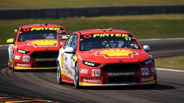 In the battle of the Kiwis, Scott McLaughlin leads Fabian Coulthard during race 12 for the Darwin Triple Crown in the ...