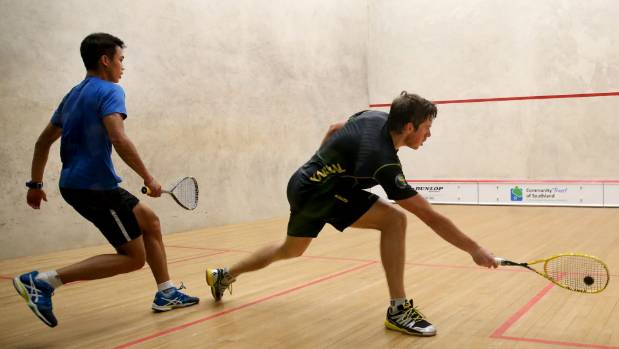 Winner Greg Lobban, right, and Ivan Yuen in the final of the Southern Open at Squash City, Invercargill, on Sunday.
