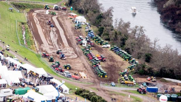 An aerial view of the Tractor Pull area alongside the mighty Waikato River.
