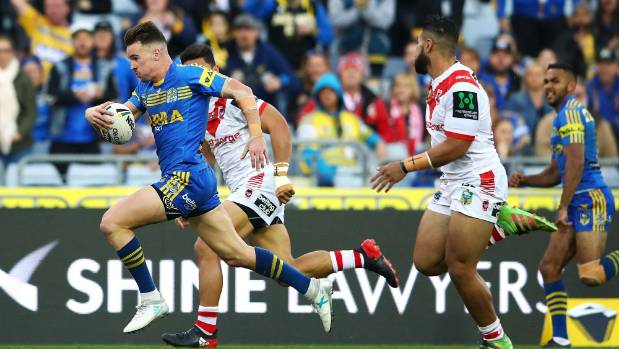 Eels fullback Clinton Gutherson in the clear against the Dragons during his starring role on Sunday.