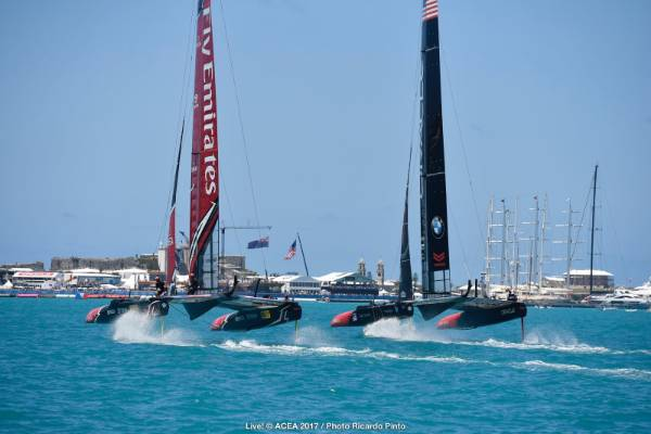 Team NZ and Team USA duel in the start box of race three in the America's Cup final.