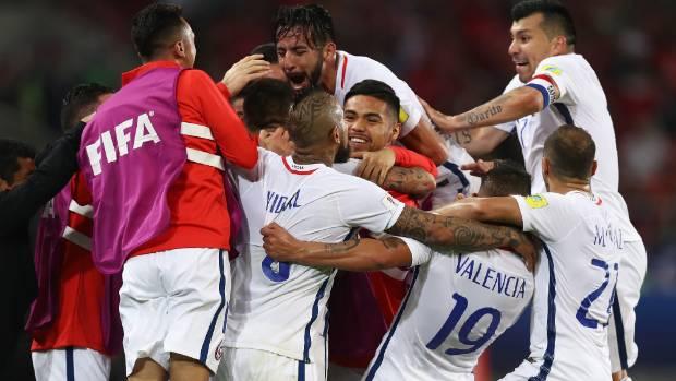 Eduardo Vargas of Chile celebrates scoring his side's second goal.