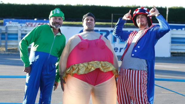 In fancy dress for the Le Mans style running start to South Island 800 are (from left) Rex Edgar of Cromwell, Jeff ...