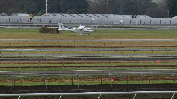 A small plane made an emergency landing at Pukekohe Park on Sunday.
