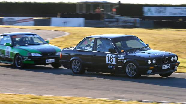 Pleasant Point's Ben Barlow in his Toyota Levin is hot on the tail of Mark Denton of Christchurch in a BMW 320.