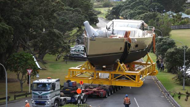 Fitzroy Yachts' final vessel, Escapade, is moved from the site back in 2014..