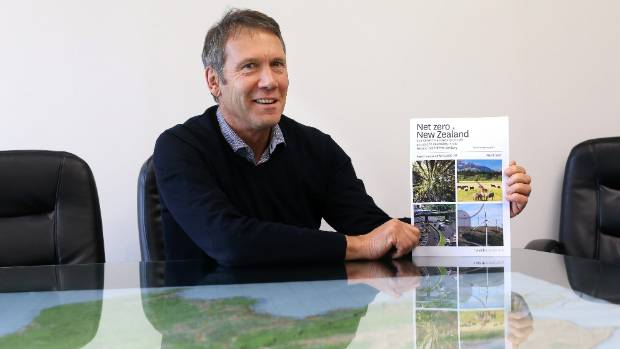 Kaikoura MP Stuart Smith with a copy of the Vivid Economics report commissioned by GLOBE-NZ looking at pathways for New ...