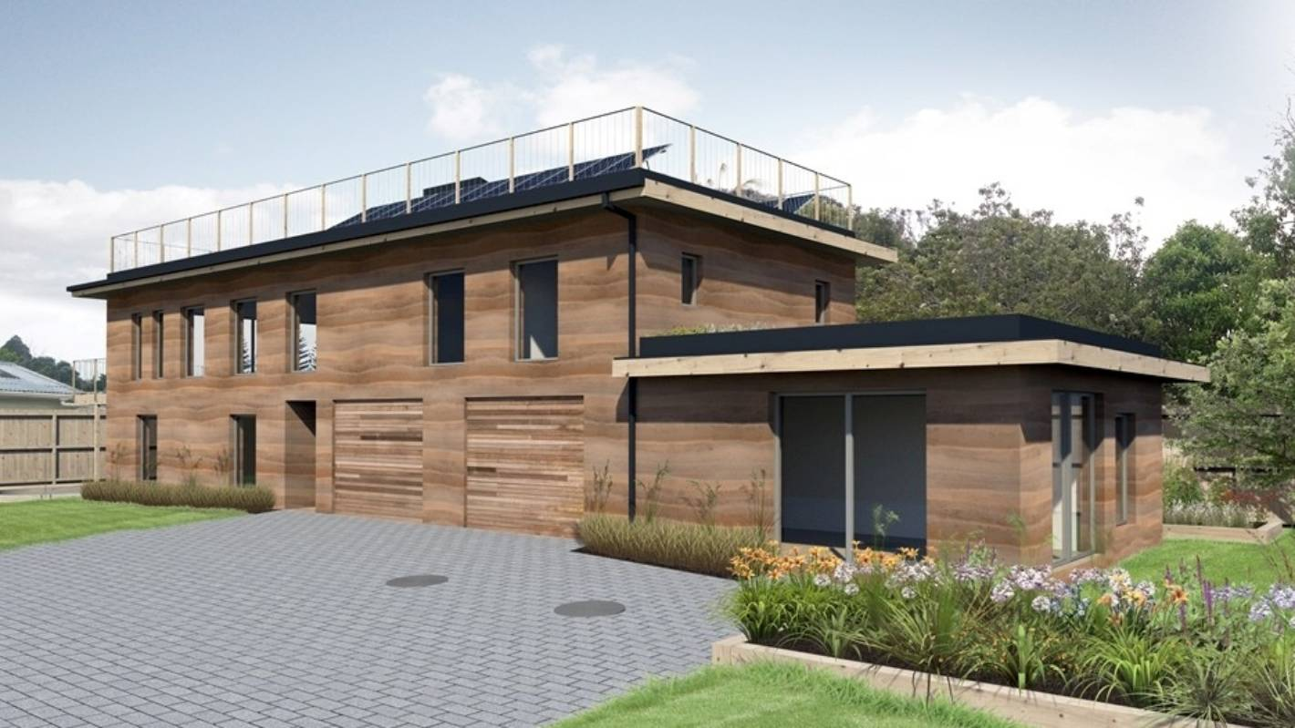 Couple aim for sustainability trifecta with rammed earth house ... on roof house designs, architectural house designs, log house designs, cement house designs, permaculture house designs, shipping containers house designs, cob house designs, green architecture house designs, eco-block house designs, earth sheltered house designs, masonry house designs, adobe house designs, mud house designs, house house designs, hydraform house designs, adobe style homes designs, passive house designs, ferrocement house designs, construction house designs,