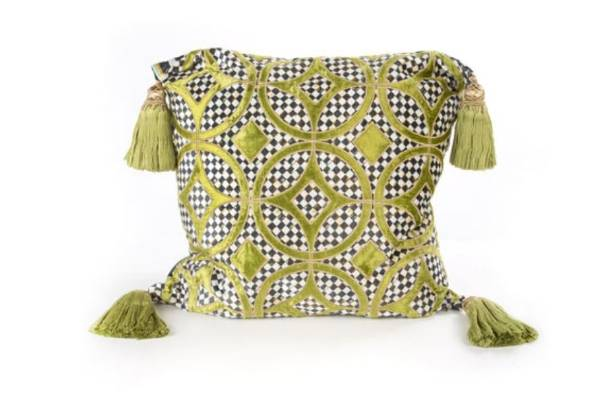 Chartreuse florentine pillow by MacKenzie-Childs, $377 from Neiman Marcus.