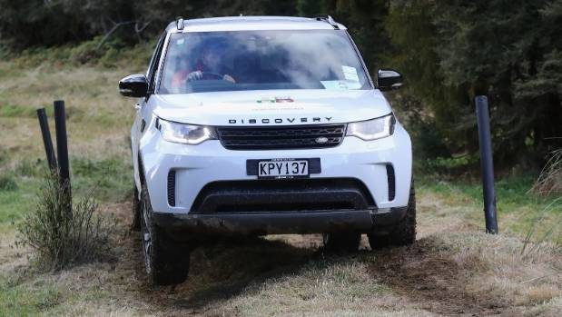 Tackle this: James Haskell drives the new Land Rover Discovery in Rotorua.