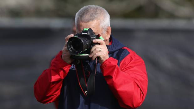 Lions coach Warren Gatland gets a different sort of view at his side's captain's run on Monday.