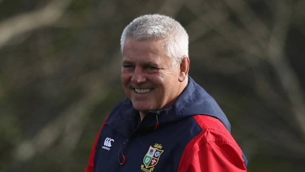 Lions coach Warren Gatland smiling in Hamilton ahead of facing the Chiefs.