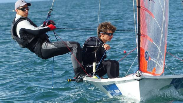 Sebastian Lardies and sailing partner Scott McKenzie aboard their 29er boat.