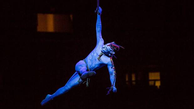 Cirque du Soleil principal performer Daniel Crispin in costume during one of the company's Avatar, Toruk - The First ...