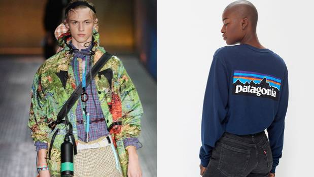 A look from Prada's spring summer 2017 collection, left, and a Patagonia longsleeve.