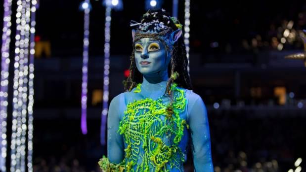 Cirque du Soleil performer Jessica Ward in costume for the show Avatar, Toruk - The First Flight.