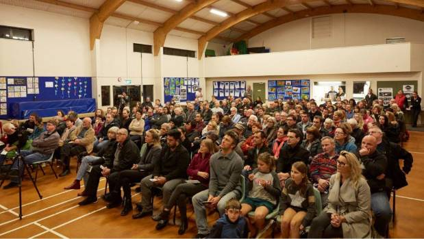 About 200 people packed into Woodlands Park School for a public meeting on the proposed water treatment plant in ...