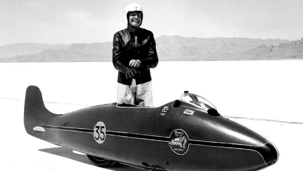 Burt Munro with his famous Indian motorcycle on the Bonneville Salt Flats.