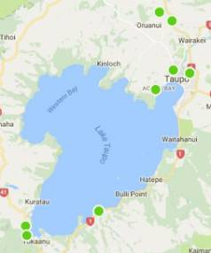 This map shows all the locations of Campable hosts in the Taupo region.