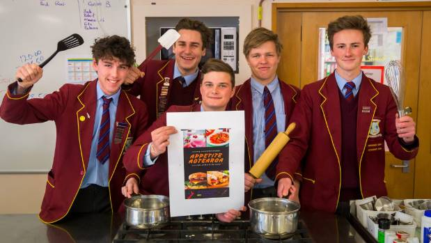 Roncalli College students, from left, Oliver Noone, Isaac Matson, Hamish Scarsbrook, Marcell Meyers and Michael Kemp are ...
