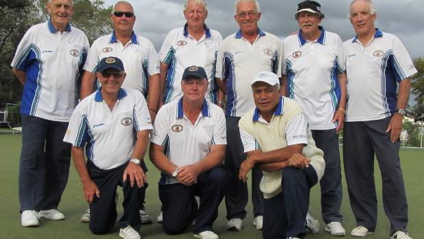 The East Tamaki Bowling Club team, front from left, Ivan Frisken, Malcolm Wright and Chris Salesa, back, from left, ...