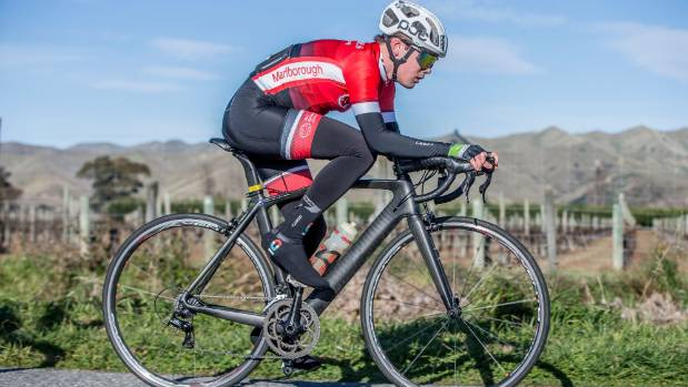 Niels van Antwerpen races around the lower Wairau circuit on Sunday.