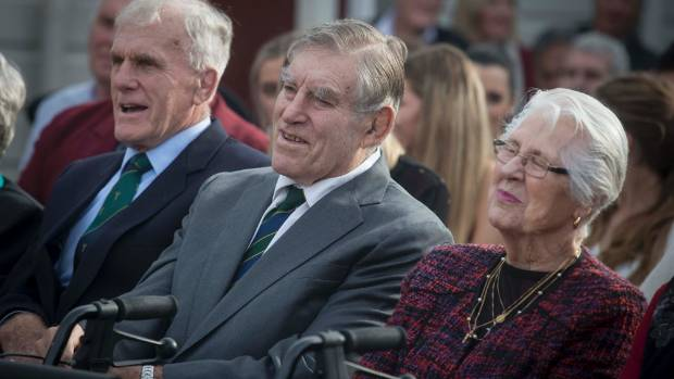 From left, Stan Meads, Sir Colin Meads and Verna, Lady Meads, at the celebrations in Te Kuiti on Monday.