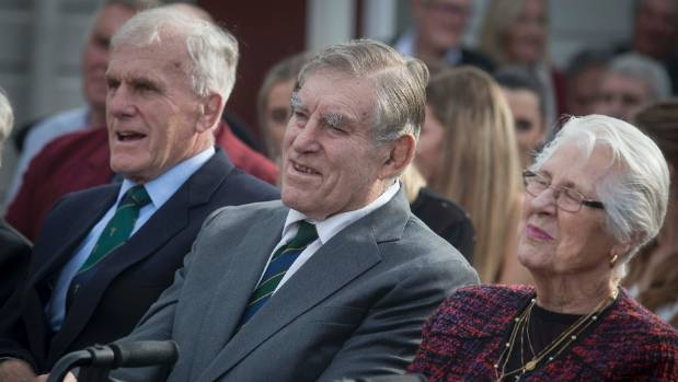 Sir Colin Meads, centre, his wife Verna and brother Stan listen to speeches at the unveiling ceremony in Te Kuiti.