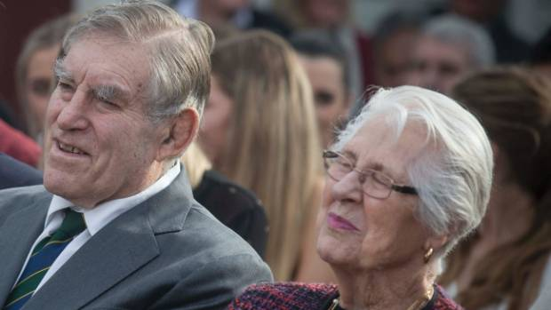 Rugby legend and prominent horse owner Sir Colin Meads, with his wife Dame Verna at the unveiling of his statue in Te ...