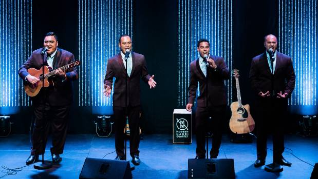 The Modern Maori Quartet, left to right, Maaka Pohatu, Francis Kora, Matariki Whatarau, and James Tito.