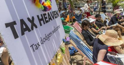 A group of Australian church groups create a mock tax haven to highlight poverty caused by big business tax avoidance.