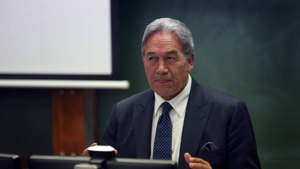 """Winston Peters at Victoria University: """"If you leave for your OE, sorry, we are not going to finance that."""""""