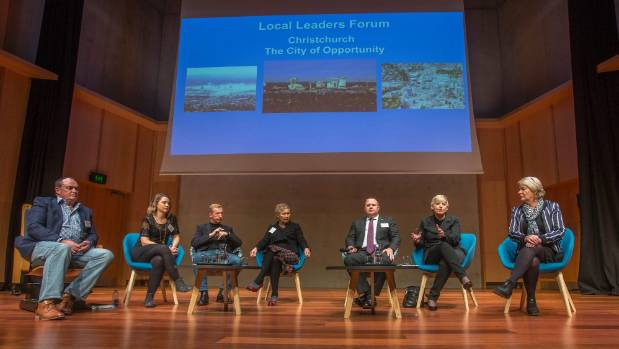 Inaugural City Leaders' Forum panellists. From left: Richard Peebles, Lauren Merrit, Will McLellan, Robyn Wallace, ...