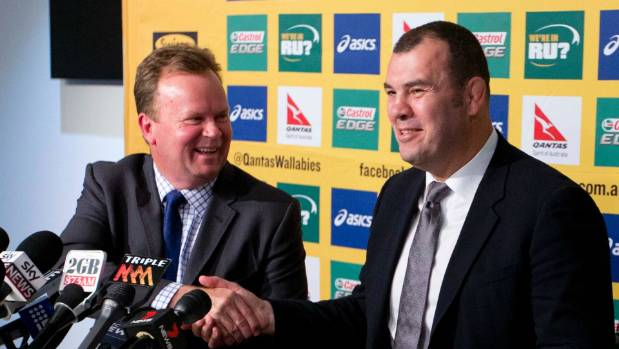 Back in 2014 when Michael Cheika (R) was named Wallabies coach by Australian Rugby Union chief executive Bill Pulver.