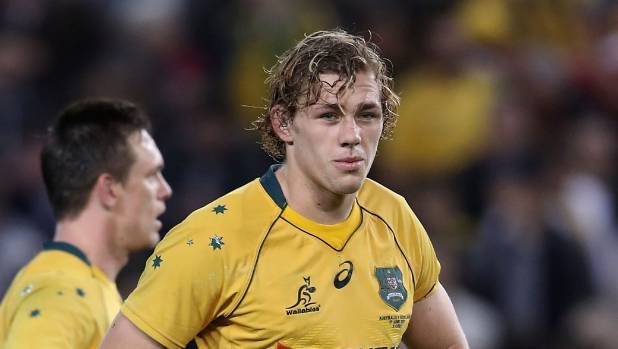 Wallabies loose forward Ned Hanigan looks dejected during the test against Scotland.