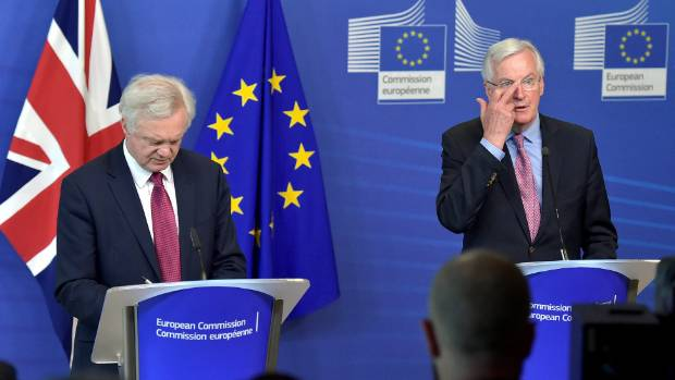 The European Union's chief Brexit negotiator Michael Barnier (right) and Britain's Secretary of State for Exiting the ...